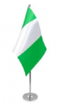 Nigeria Desk / Table Flag with chrome stand and base.